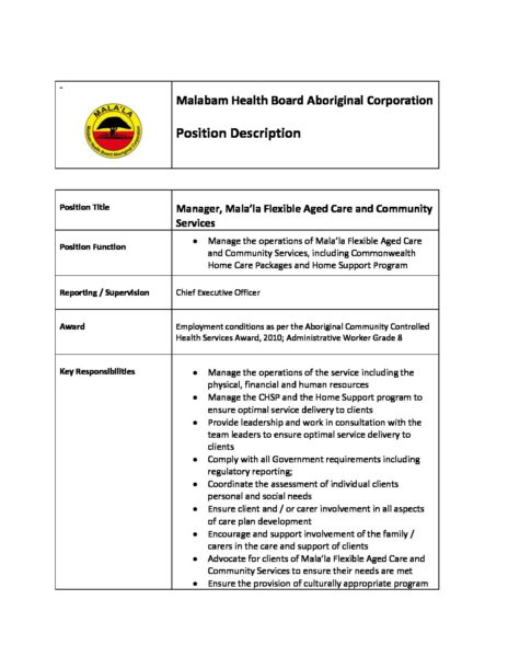 Manager Aged Care and Community Services position description 27