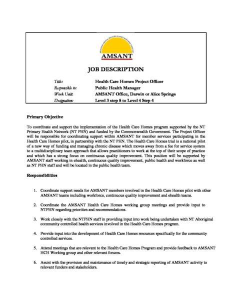 Officer Job Description | Hch Project Officer Job Description Amsant
